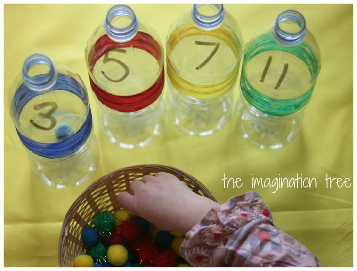 Count and Sort Math Bottles-use pom-poms to count pre-labelled bottles, or have child fill and number themselves.