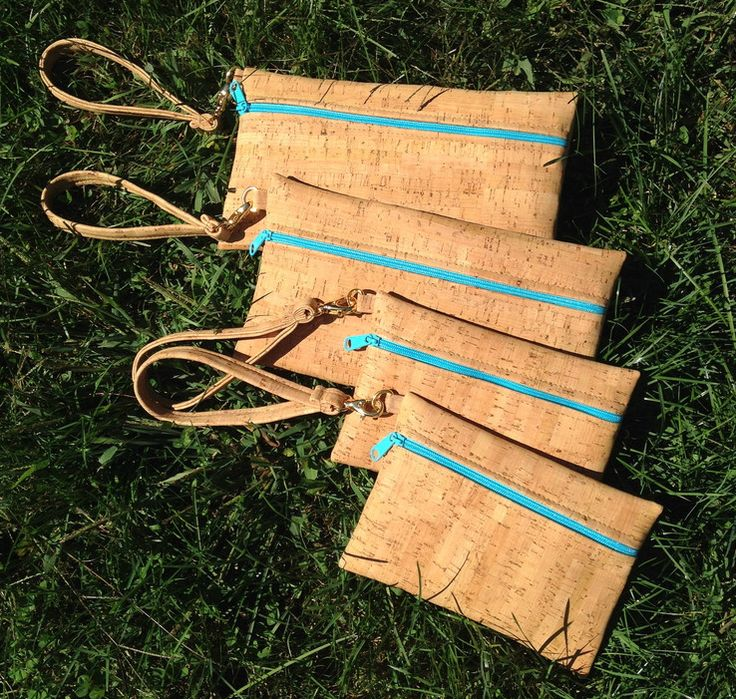 Natalie Therése Cork Wristlet Zip Pouches!  Handmade in the USA, environmentally-friendly, vegan and super cute!  Made from real, sustainable cork fabric.