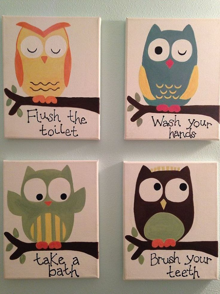 Kids Owl Bathroom Art :: Hometalk switch to something besides an owl, tho?! maybe each a different colored bird
