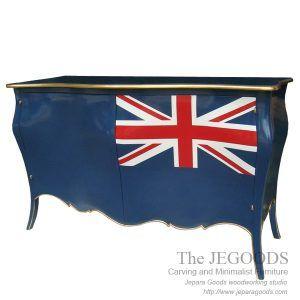 Furniture manufacturer Jepara antique mahogany union jack flag mebel bendera inggris shabby chic furniture. Creative painted furniture at factory price.