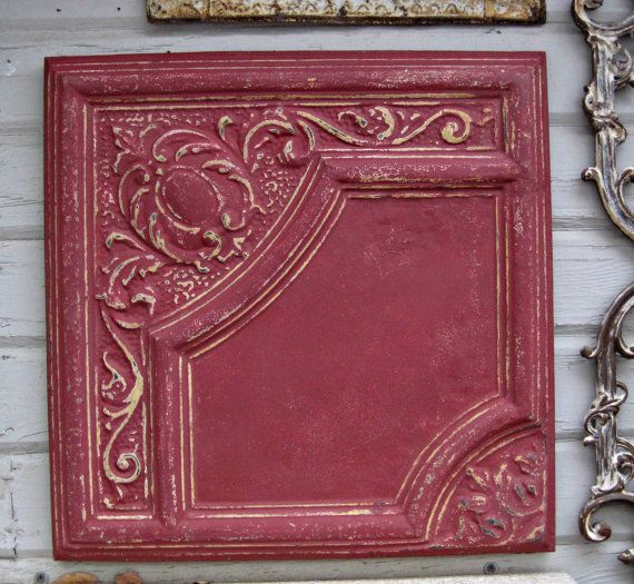 Framed 2 X2 Antique Ceiling Tin Tile Circa 1900
