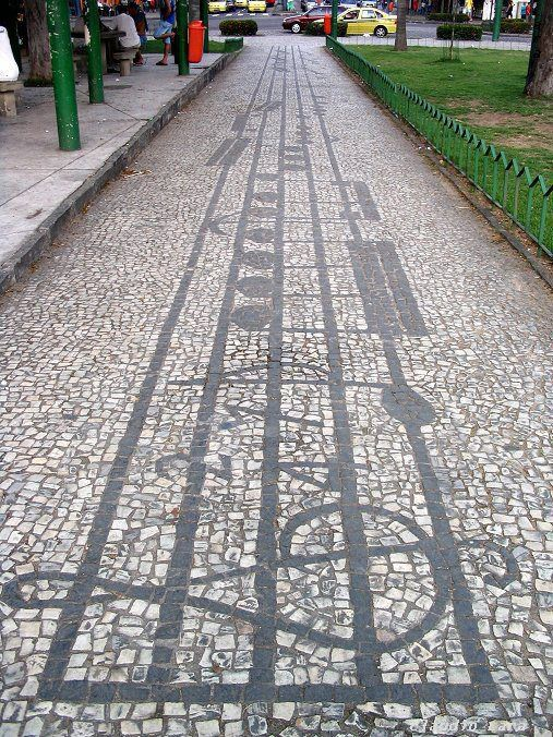Musical Sidewalk - Vila Isabel, Rio de Janeiro, Brazil  The mosaic sidewalks along Boulevard 28 de Setembro between Praça Maracanã and Praça Barão de Drummond are musical staves. Written in the stones are 20 complete musical works.