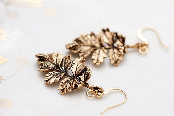 Antiqued Gold Leaf Earrings