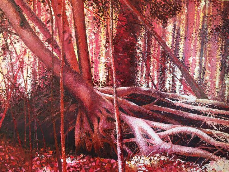 Bosque Rojo de Danielle Koehler, óleo sobre tela