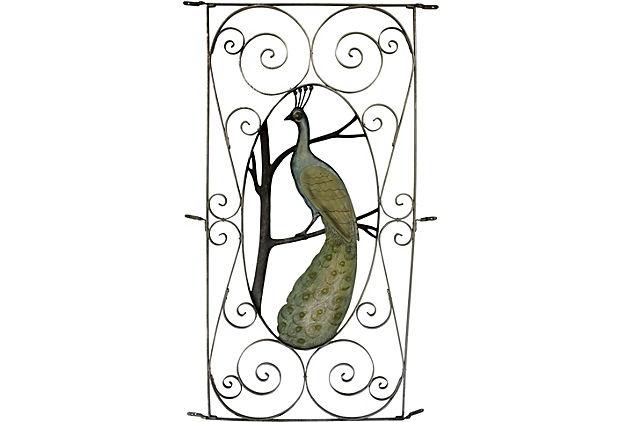 Peacock Screen Door Cover  vintage 1910-1950  Sterling, Mfg. of Erie, PA