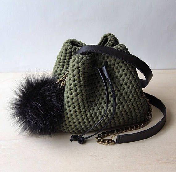 Crochet bucket purse Mini bucket bag T shirt yarn green