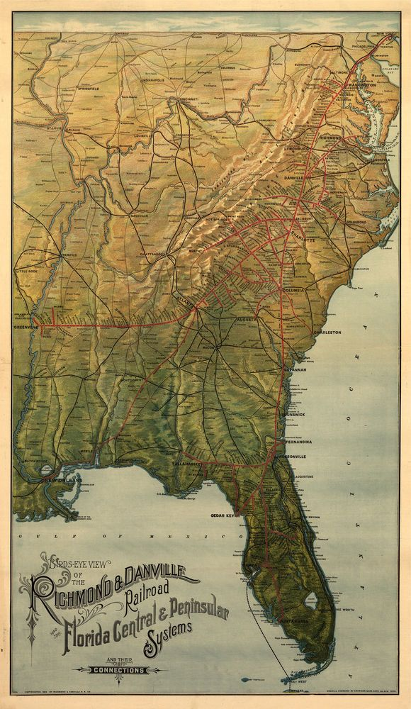 Florida East Coast Map.1893 Map Florida Railroad East Coast Richmond Danville 24 X14