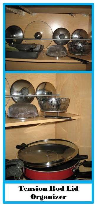 Tension rod organization, great idea for lids!