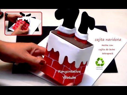 Cajita navideña para regalo o adorno de Navidad hecha con caja de leche o jugo reciclada - YouTube