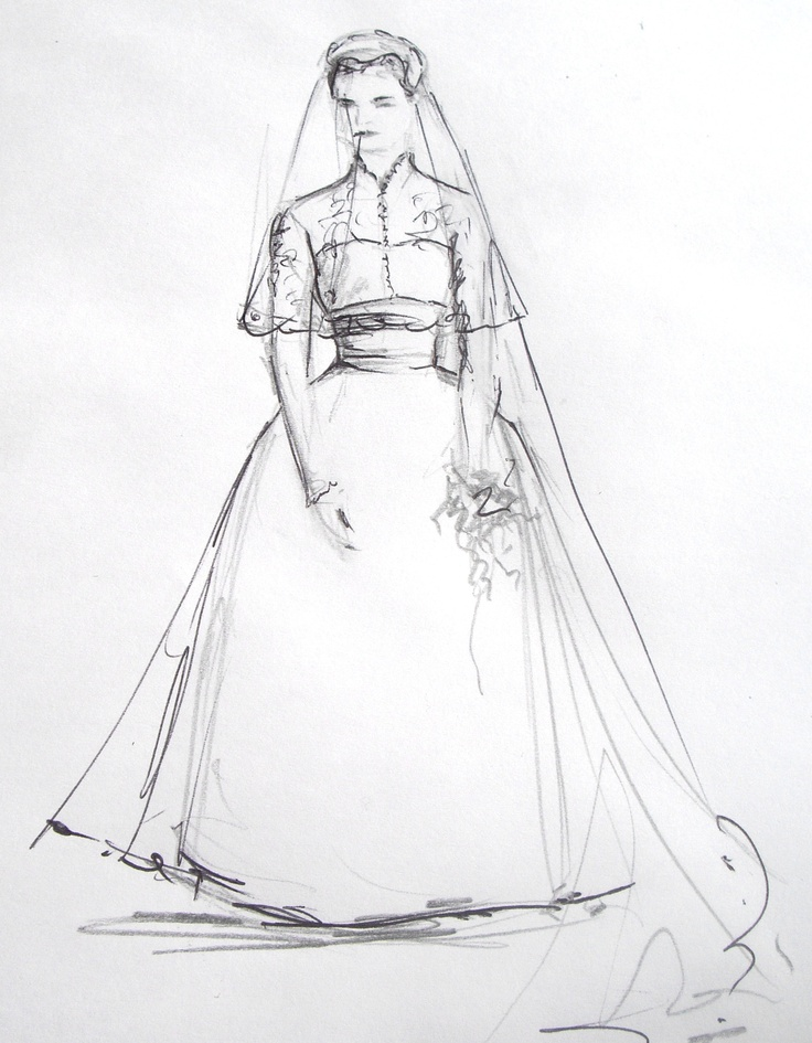18 best wedding sketches images on pinterest fashion Grace kelly wedding dress design