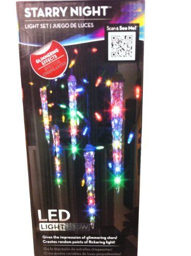 Gemmy Multi Colored 9.5ft LED Icicle Shooting Star Lights . $59.95. Total length is approximately 9.5 ft. 5 Total Icicles / 48 mini lights. Energy-efficient LED lights. Shooting star effect moves down each icicle in a random pattern. Connect and synchronize up to 58 Gemmy Light Show sets for even greater display. Use less power and get more praise. The Sparkle Icicle LED Light String Set creates a beautiful light show that includes LED lights consume 80% less power...