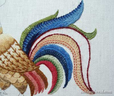 Crewel Embroidery: Rooster embroidered in wool threads