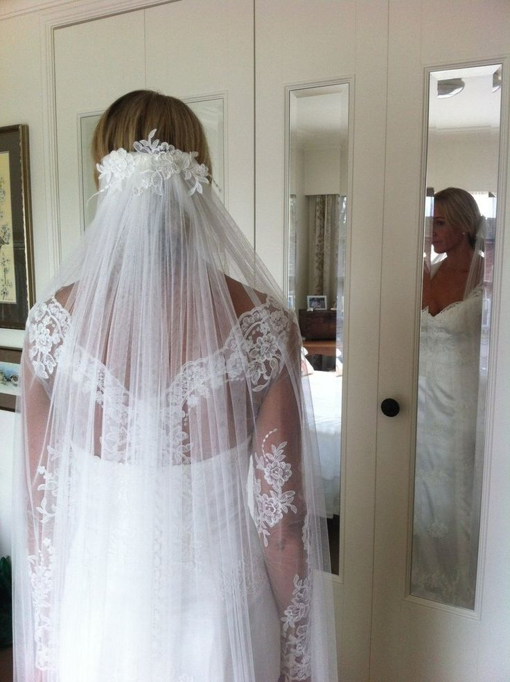Jo by Jennie Field Dressmaker. Matching lace gown and veil