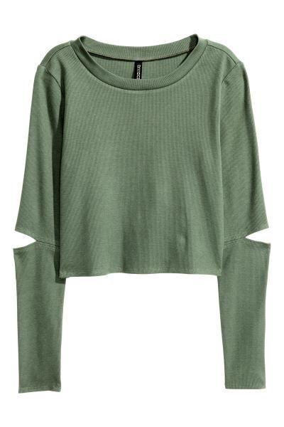Camiseta corta de punto: Camiseta corta en punto de canalé suave con mangas largas y secciones abiertas en los codos.