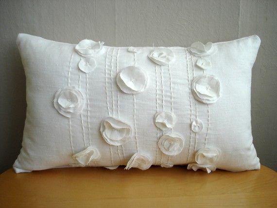 Sukanart / White pillow Flowers Pillow Cover - roses lumbar pillow - white linen pillow - designer pillow - 12x20 via Etsy