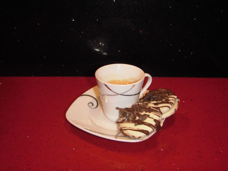 good morning with espresso and triple chocolate cookie!!