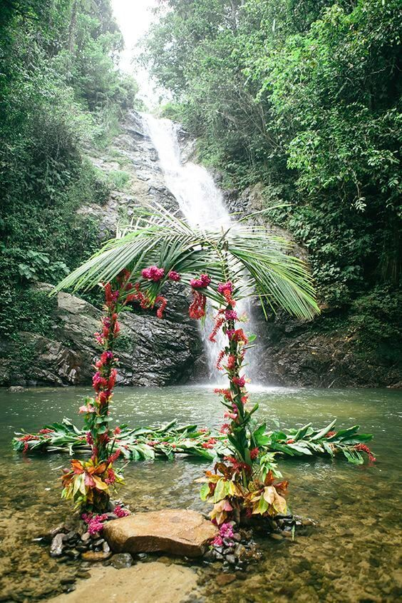 tropical #wedding aisle with #waterfall in background - GORGEOUS!!