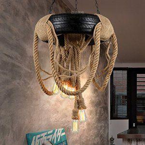 BLYC- Continental Design Personnalité Chandelier créative Pneu rétro corde pendentif (60 * 95cm) , black