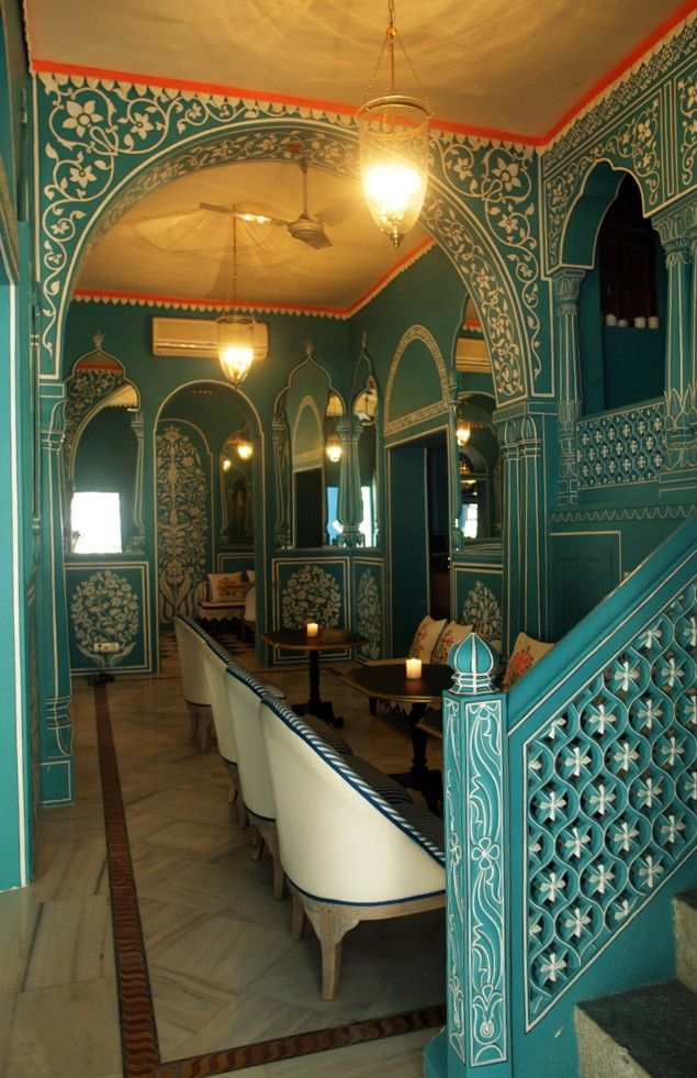 Bar Palladio at Narain Niwas Palace Hotel In Jaipur, India / designed by Marie Anne Oudejans