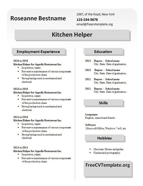 Resume Examples Kitchen Helper Examples Helper Kitchen Resume