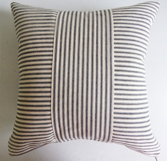 Ticking Throw Pillow Cover Black Stripe - Rustic Modern Farmhouse Pillow These ticking pillow covers make great neutral accent pieces, either