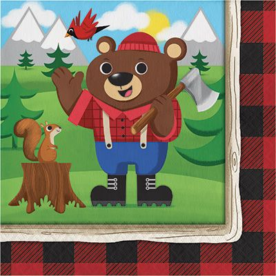 Canadian Lumberjack Luncheon Napkins - 16pk Party Supplies Canada - Open A Party