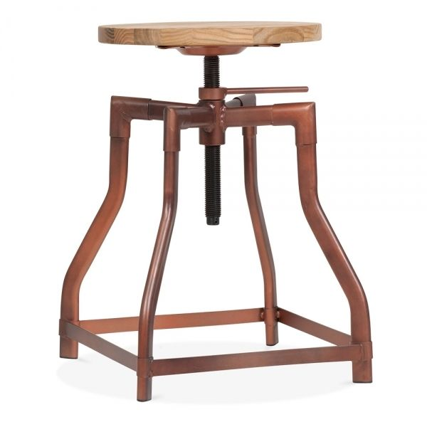 £80 Machinist Industrial Swivel Adjustable Stool Antique Copper 45cm | Cult UK