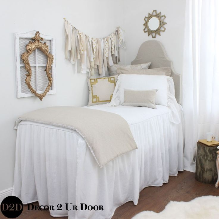 Love this coverlet bedskirt combo. Shabby chic..Perfect for dorm room to hide the extras in style! Neutral Tan and White Damask Designer Dorm Bedding Set