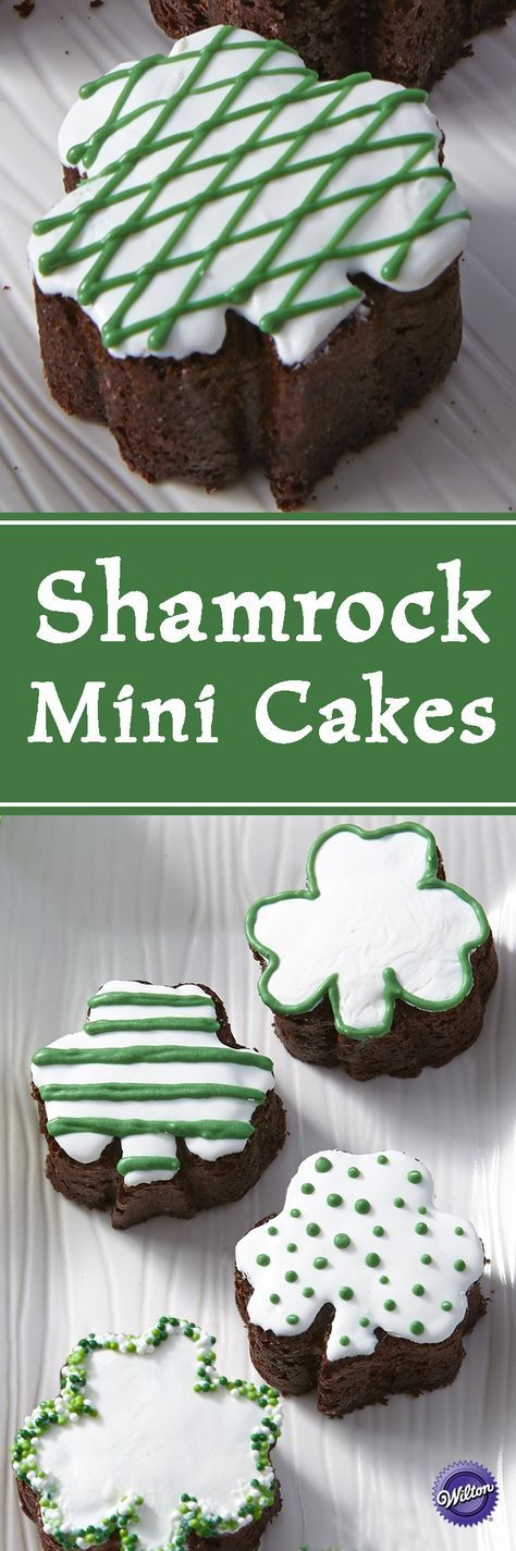 Shamrock Mini Cakes - Your guests will be lucky you made these special treats! Use the Wilton Mini Shamrock Mold along with Wilton Candy Melts Candy to give these treats some tasty flourishes. Perfect for St. Patrick's Day!