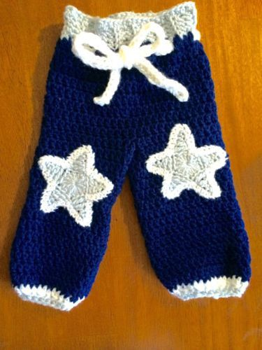Dallas Cowboys Crochet Baby Pants Handmade Newborn Size
