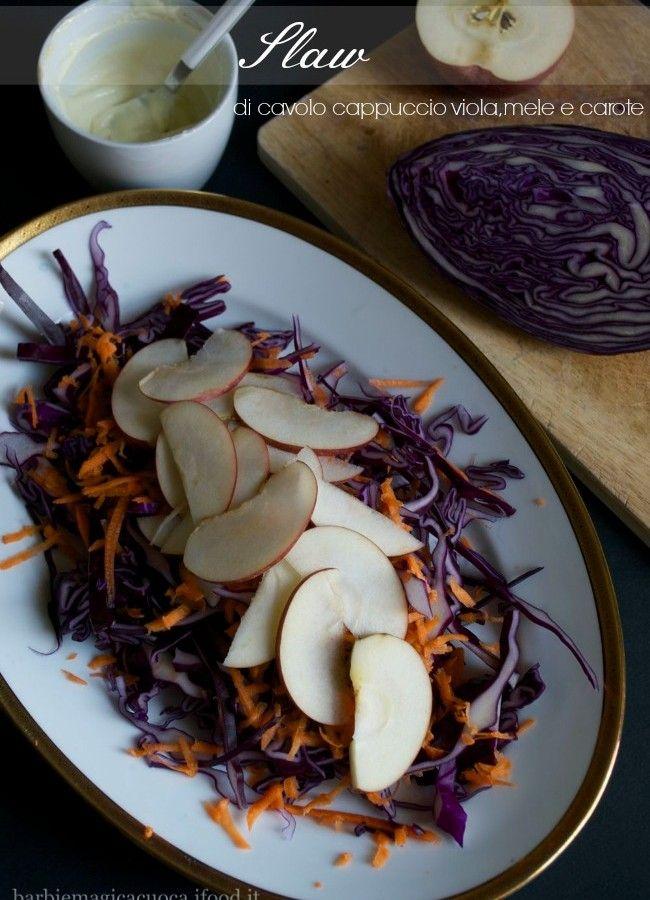 slaw di cavolo viola mele e carote
