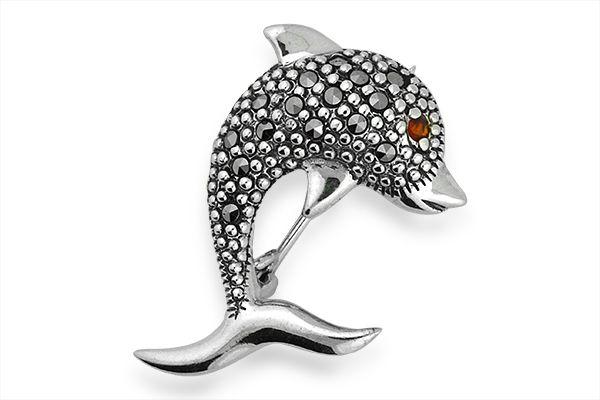 gemguru Sterling Silver Marcasite and Garnet Dolphin Broach