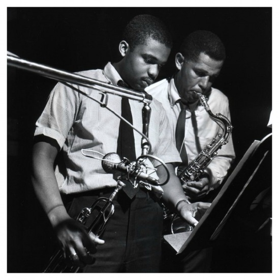 """Freddie Hubbard and Dexter Gordon, Gordon's """"Doin Alright"""" session, Englewood Cliffs, NJ, May 6, 1961 by Francis Wolff"""