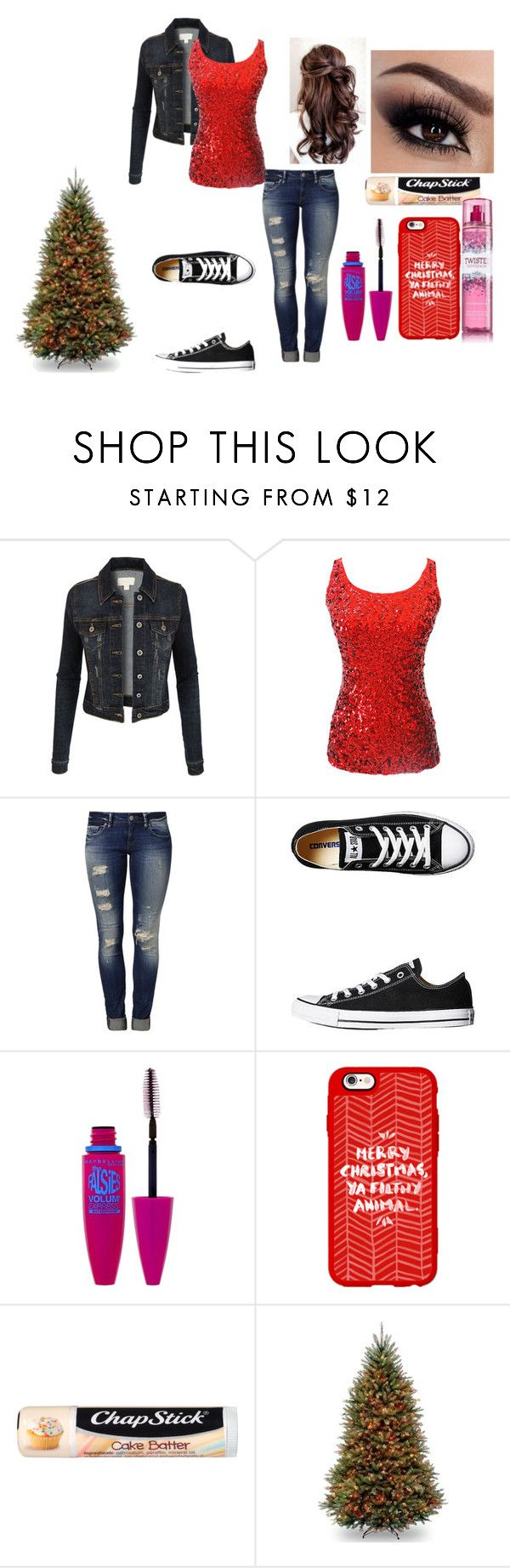 """""""Christmas @ Mawmaw's"""" by red01 ❤ liked on Polyvore featuring LE3NO, Mavi, Converse, Maybelline, Casetify and Chapstick"""