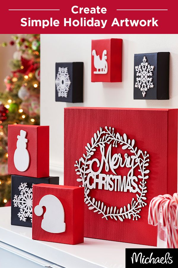 Decorate your walls with whimsical holiday icons in just a few simple steps! First, paint your canvas with the color of your choice. Once dry, adhere the laser cut plaques with Weldbond®. Make multiple styles and sizes to add holiday cheer to your home. Everything you need for this project can be found at your local Michaels.