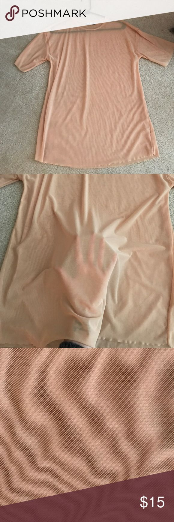 Zara nude mesh t shirt Never worn. Zara nude mesh t shirt Zara Tops Tees - Short Sleeve