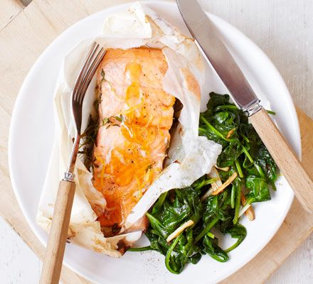This simple seafood supper is quick, easy and packed with good-for-you ingredients such as oily fish and spinach.