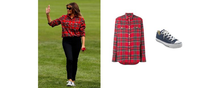 Melania+Trump`s+Red+Plaid+Shirt+and+Blue+Sneakers+September+2017