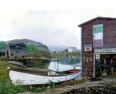 """The Wharf"" Lloyd Pretty painting"