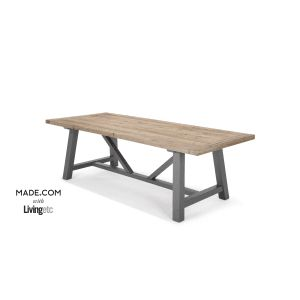 Iona Dining Table, Solid Pine and Grey   made.com