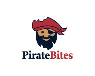 Pirate Bites Logo design - Logo design of a bearded pirate. His hat has a bite mark on it.  Price $270.00