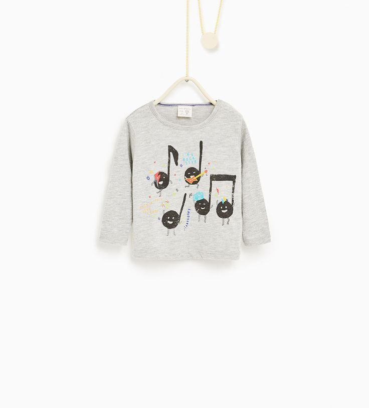 T - shirt met muzieknoten-NIEUW-BABY JONGEN | 3 maanden - 4 jaar-KINDEREN | ZARA…