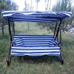 Mavi-Beyaz Çizgili Bahçe Salıncak - 202x112x186 cm