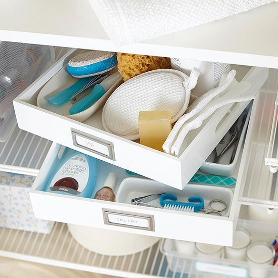 Keep small items organized with trays that are typically used to sort small office supplies: http://www.bhg.com/decorating/closets/linen-closet/?socsrc=bhgpin021015trayit&page=6