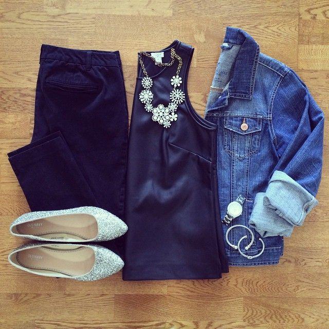 Leather Tank, Jean Jacket, Old Navy Pixie Pants, Glitter Flats, Crystal Vine Necklace | #weekendwear #casualstyle #liketkit | www.liketk.it/19PLt | IG: @whitecoatwardrobe