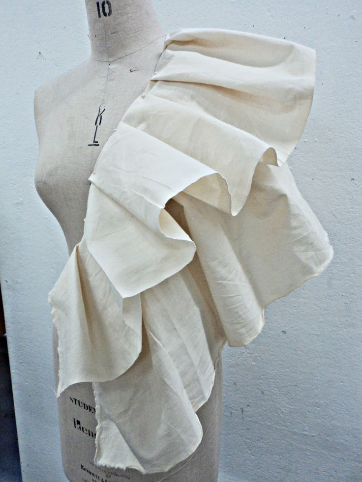 Draping on the stand - ruffle dress development - pattern making; moulage; fashion design; garment construction // Vilune Daunoraite