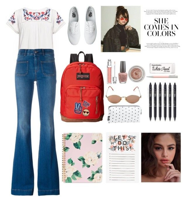 """Spring Vibes"" by evaskar on Polyvore featuring Rebecca Taylor, STELLA McCARTNEY, Vans, JanSport, ban.do, Jean-Paul Gaultier, Christian Dior, OPI, Charlotte Tilbury and Faber-Castell"
