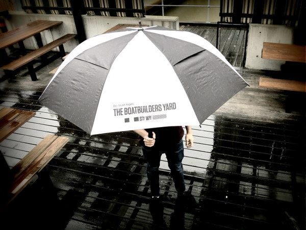 Rain... borrow one of our umbrella's. return it when you can. The Boatbuilders Yard. South Wharf Melbourne.