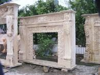 Heavy Carvings on this Hand Carved Marble Fireplace Mantel #3892