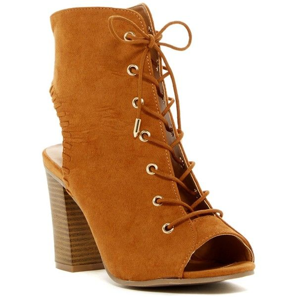 Legend Footwear Jamie Cutout Bootie ($27) ❤ liked on Polyvore featuring shoes, boots, ankle booties, ankle boots, whisky, open toe bootie, lace up high heel boots, open toe lace up booties, lace up boots and lace up chunky heel booties